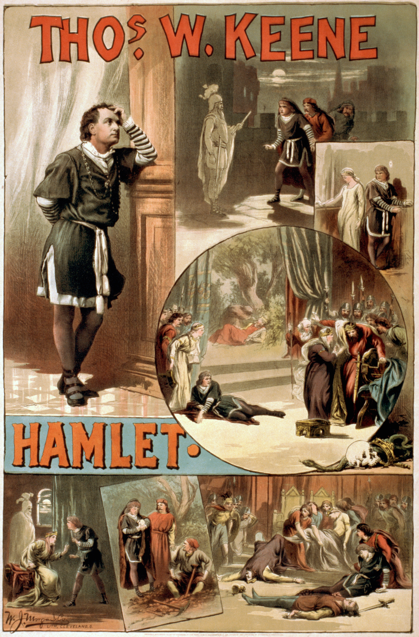 hamlet 1884 for an american production of hamlet starring thomas w keene showing several of the key scenes
