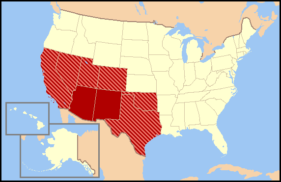Southwestern United States Simple English Wikipedia The Free - Map-of-south-west-us