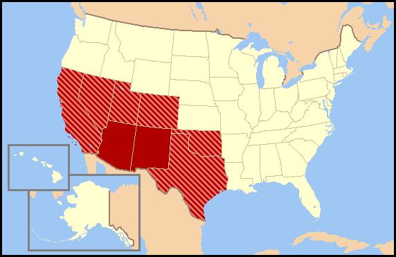 Southwestern United States Wikiwand - South western usa map