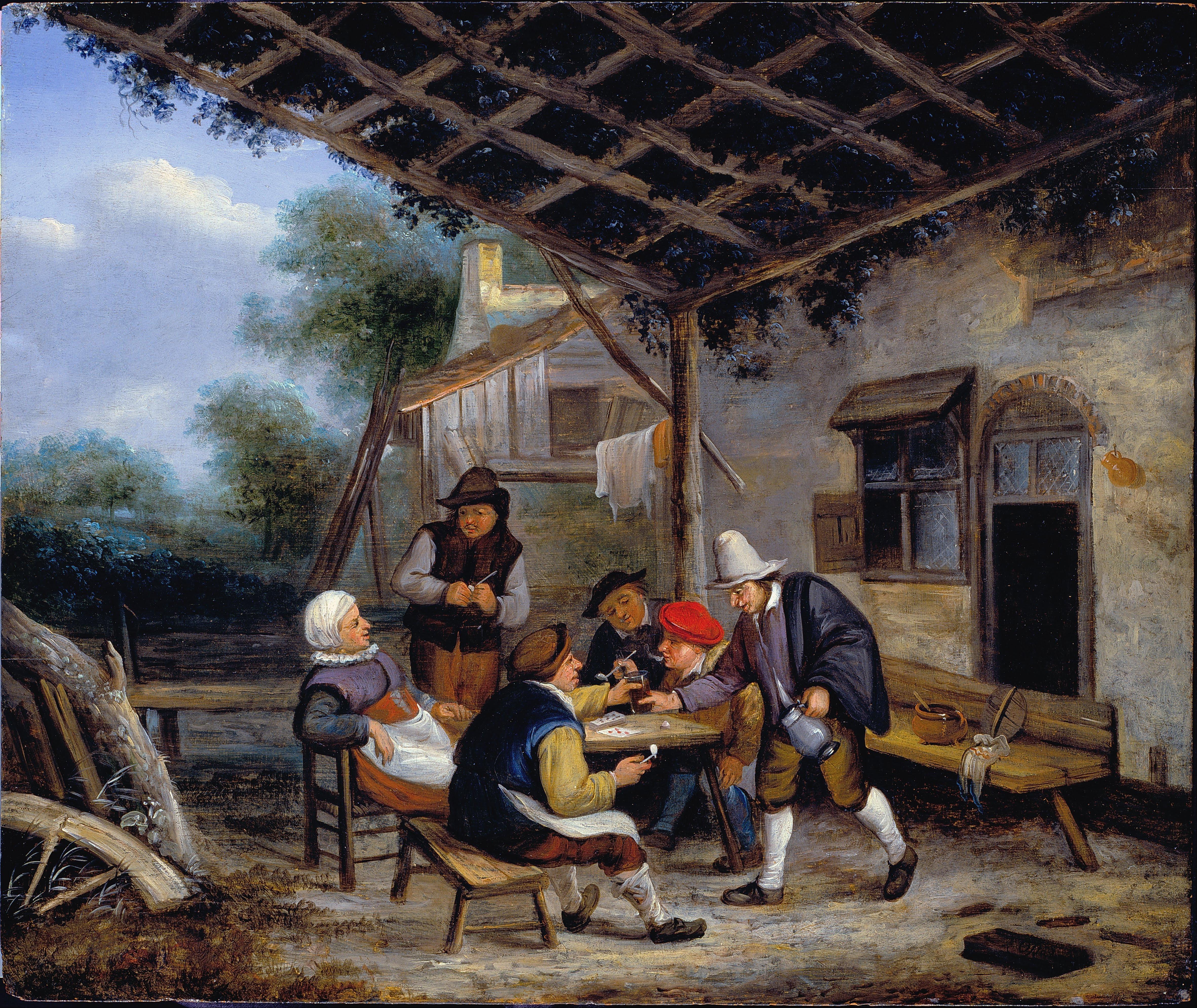 File van ostade adriaen peasants drinking google art for Painting while drinking wine