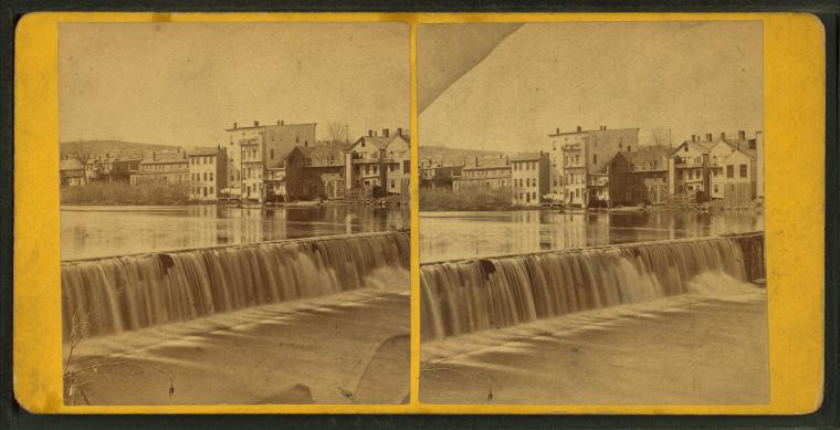 File:View of a waterfall with buildings lining the river on the opposite shore, from Robert N. Dennis collection of stereoscopic views.jpg