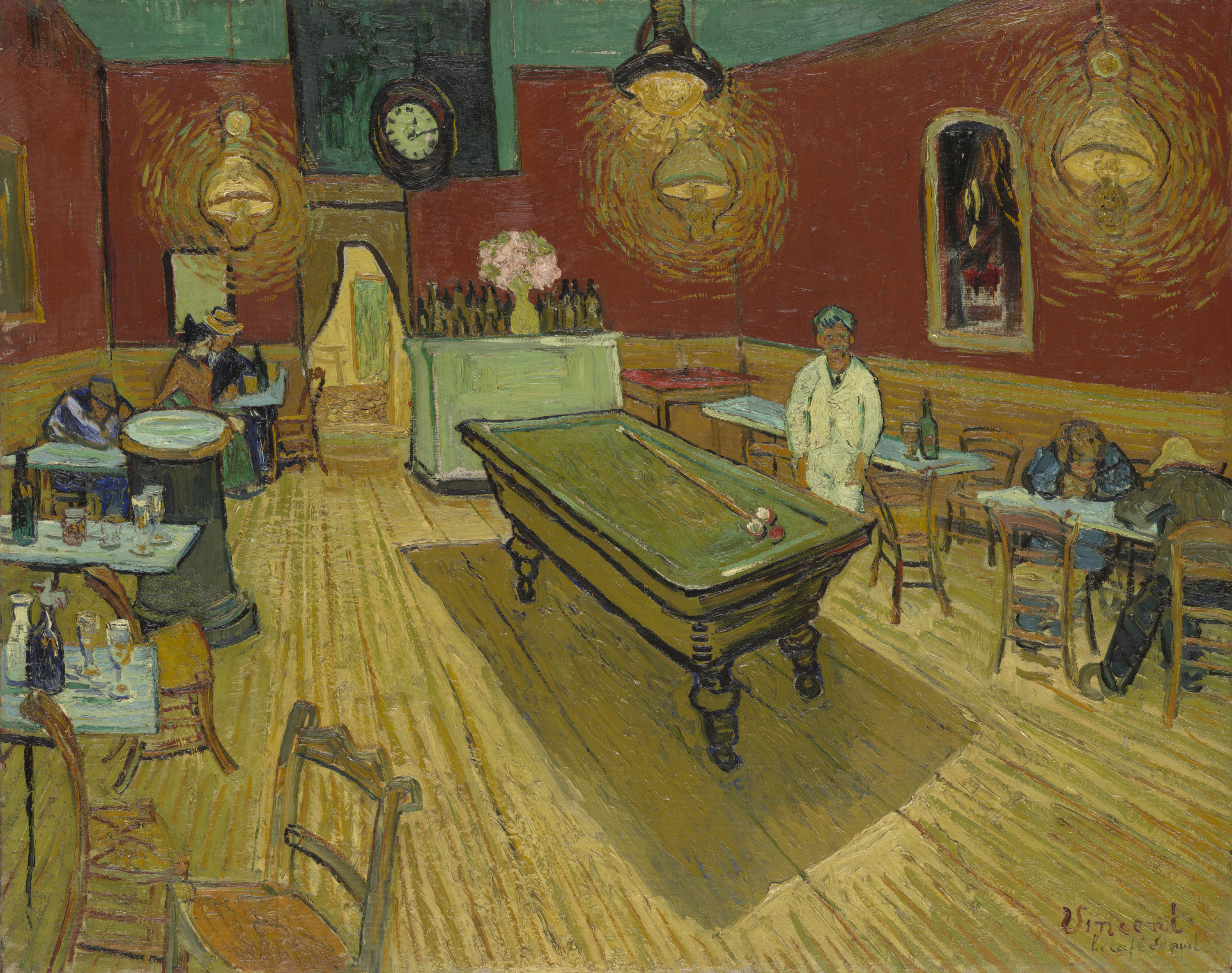 patrons are present at a sparsely attended venue with half full seating tables along the right and left walls, while the back wall has a taller piece of furniture with bottles atop it next to a doorway and in the center of the room is a large piece of furniture that may be a billiards table. Bright lanterns hang from the ceiling and one person is standing.