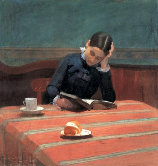 William Stott of Oldham (1857-1900) Lesen bei Gaslicht, 1884.jpg