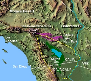 A section of the LCRV showing the Colorado Desert-(yellow highlight) in west, the Salton Sea, and the three US bordering states on the Colorado River. Portions of the Mexican states of Baja California and Sonora also shown. Proximity to San Diego and the rain shadow of coastal mountains, also shown.