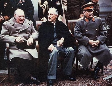 "The ""Big Three"" of Europe at the Yalta Conference: Winston Churchill, Franklin D. Roosevelt and Joseph Stalin Yalta Conference cropped.jpg"