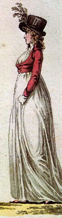 1798-vuoden tyyliä: musliinimekko, spencer-jakku ja silinteri-hattu.