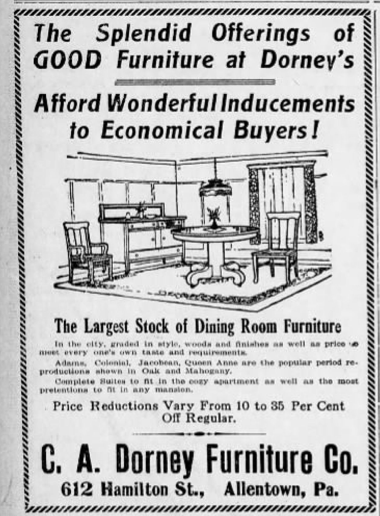 File:1916   C A Dorney Furniture Company Newspaper Ad Allentown PA
