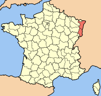 Map of France highlighting the Region of Alsace