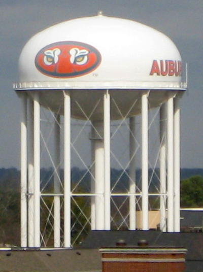 Water tower bearing logo