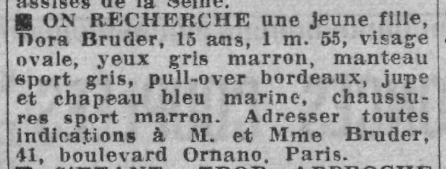 Avis de recherche pour Dora Bruder Paris-Soir 31 décembre 1941