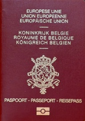 Photo d'un passeport belge.
