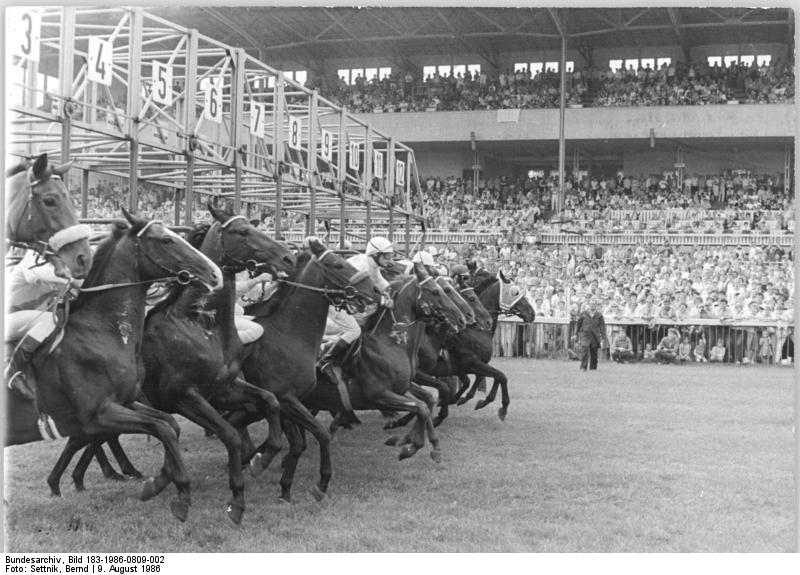 Bundesarchiv Bild 183-1986-0809-002, Berlin, Galopprennbahn, Start
