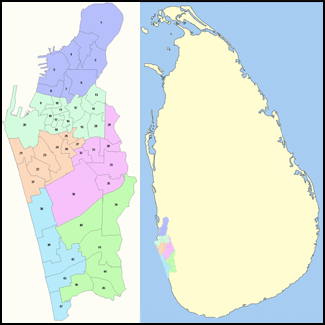 Map of Colombo showing its administrative districts. ColomboMapCoolGin.png