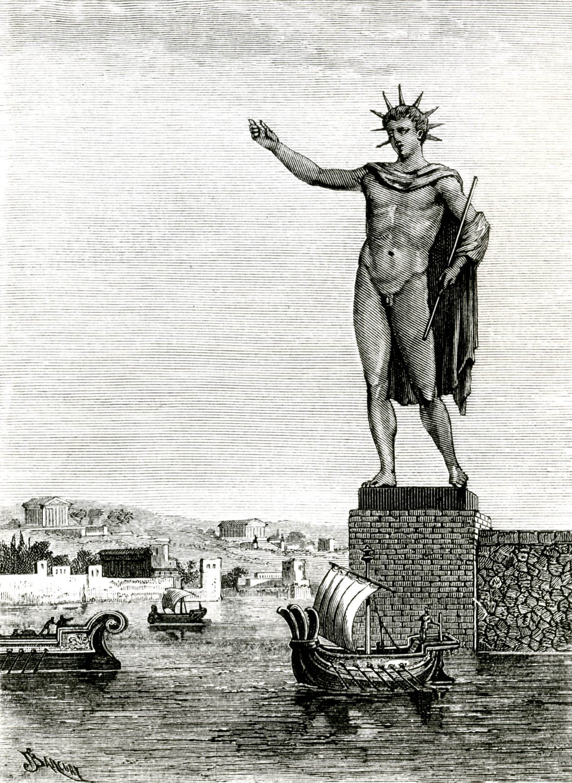 the new colossus, colossus of rhodes, statue, helios