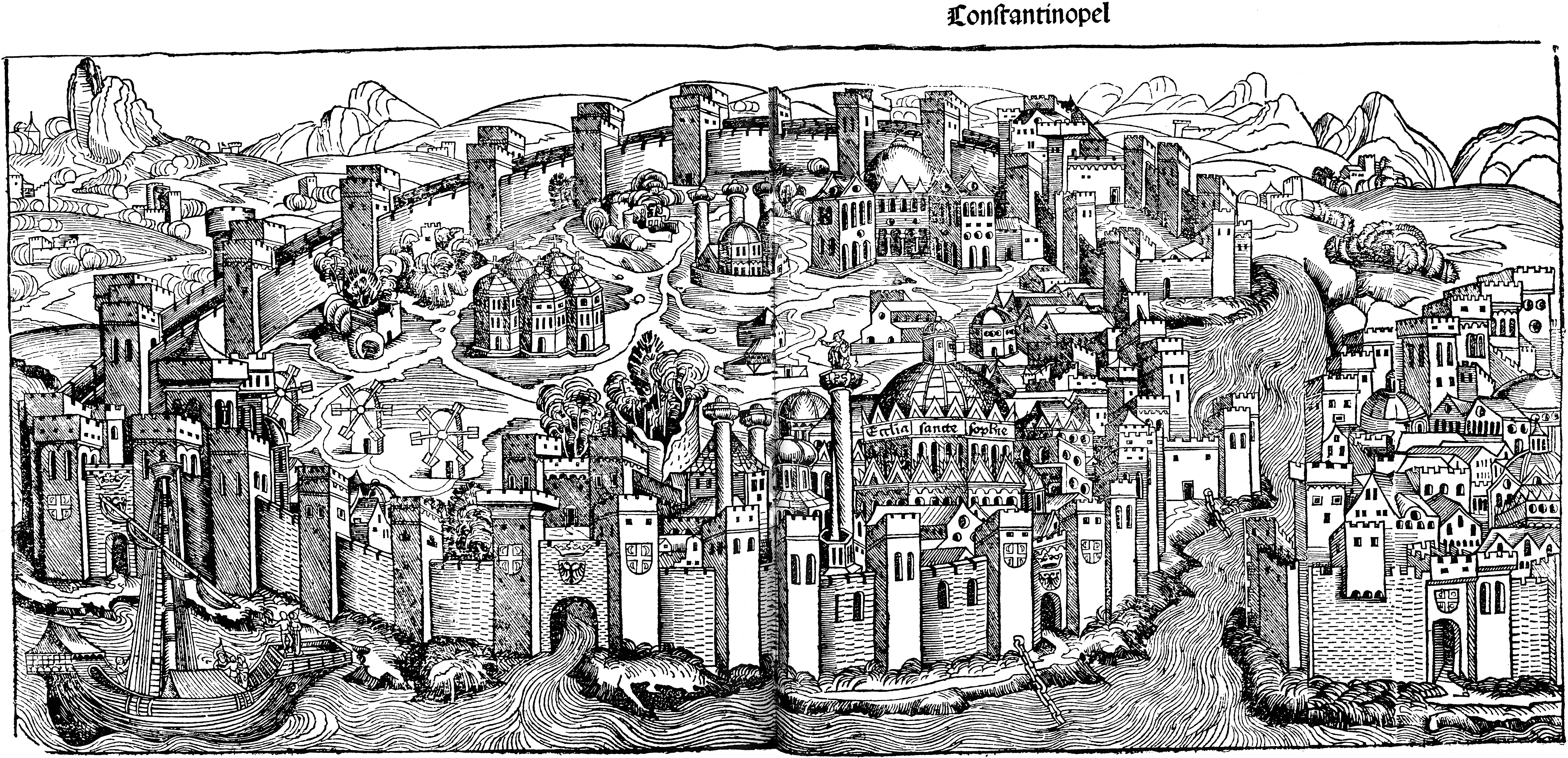 File:Constantinople, woodcut from Schedel's Weltchronik (1493).png