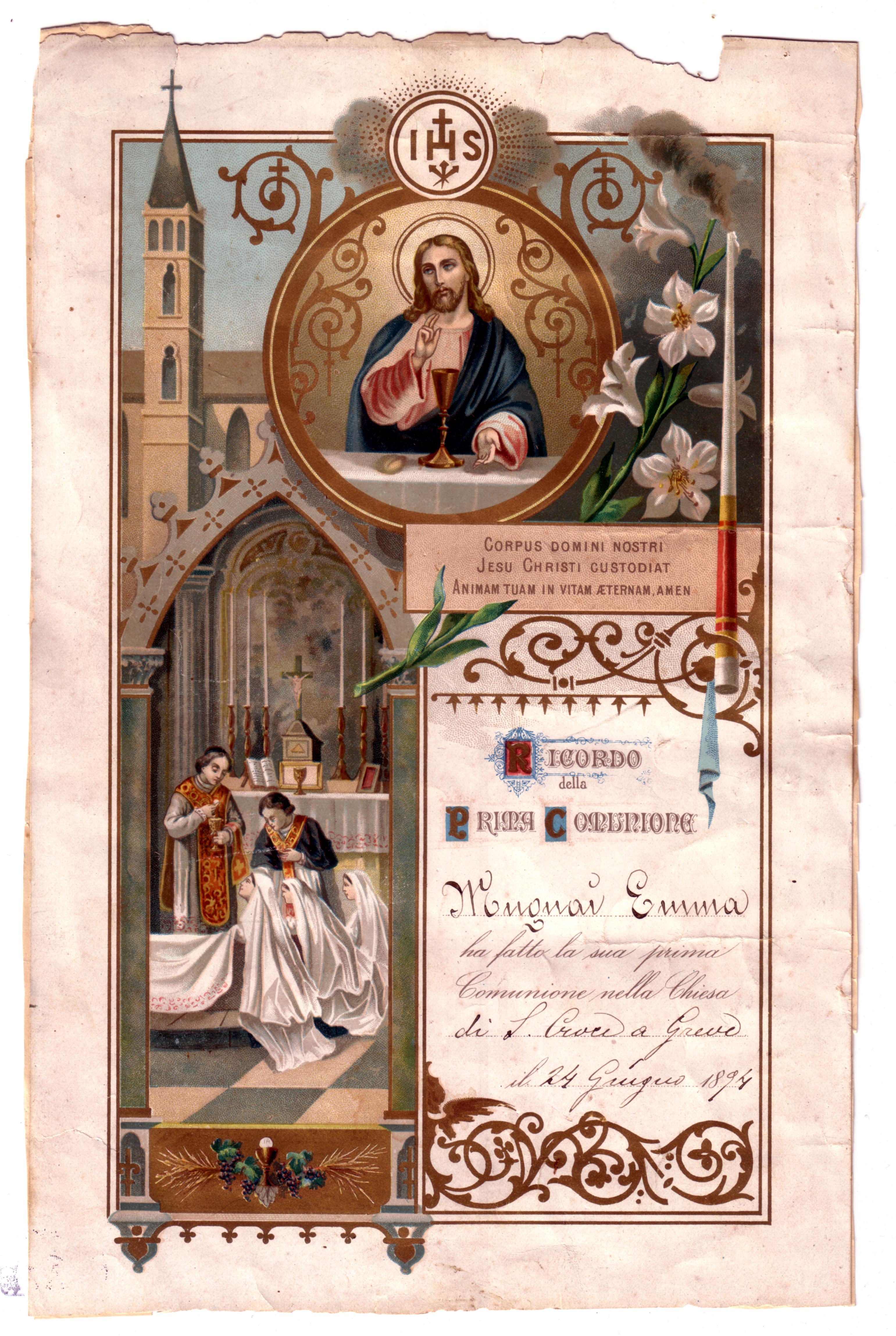 File:Emma Mugnai First Communion Certificate.jpg - Wikimedia Commons