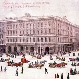 The hotel is situated at the intersection of Nevsky Prospekt and Mikhailovskaya Street.