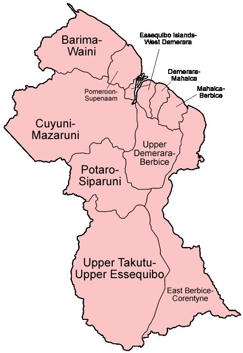 map of Guyana regions