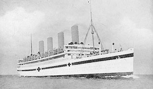 HMHS Aquitania in World War I service as a hospital ship.