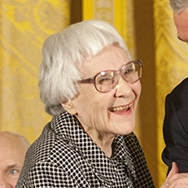 Harper Lee about to receive the Presidential Medal of Freedom at the White House on November 5, 2007.