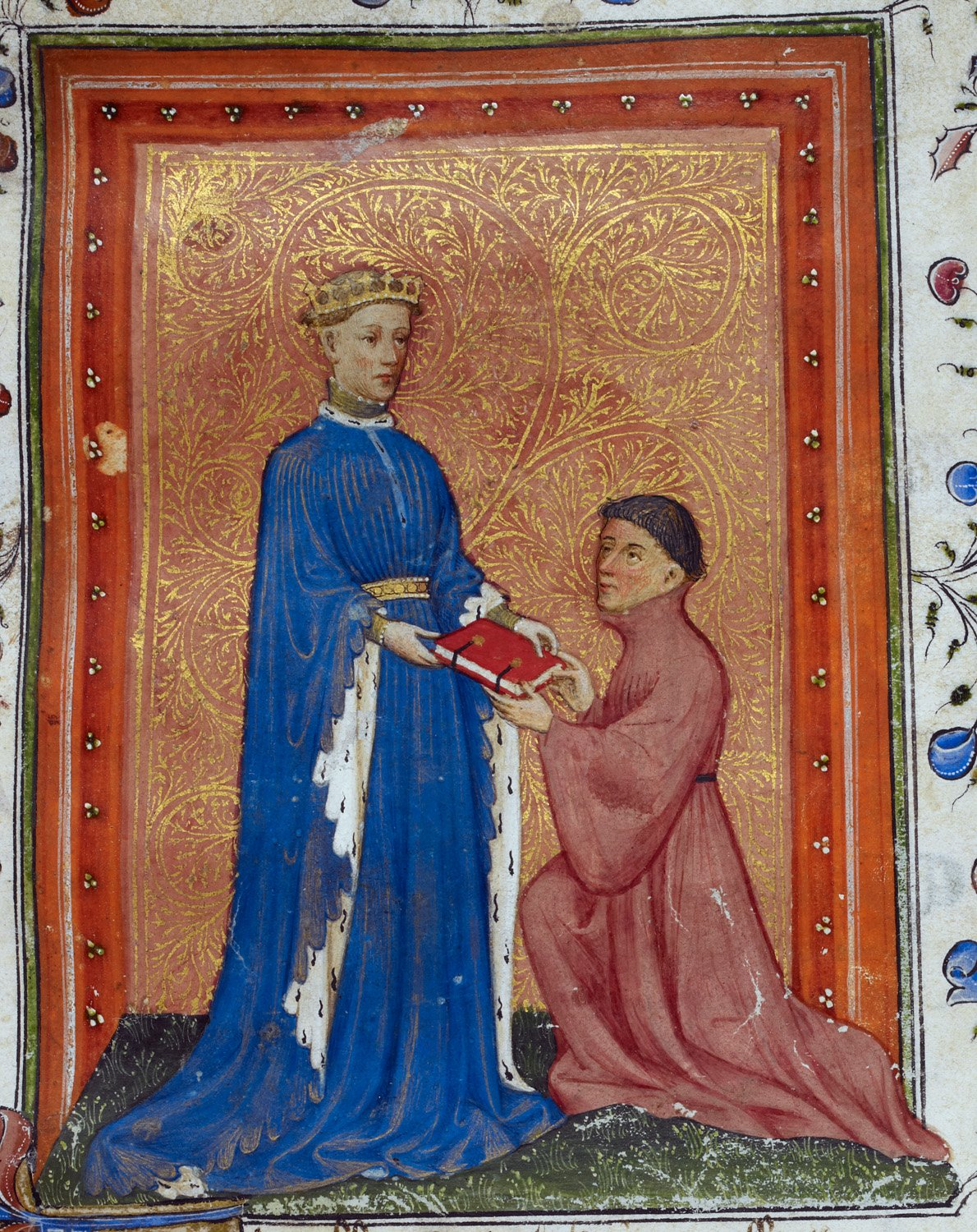 File:Henry, Prince of Wales, presenting this book to John Mowbray. Thomas Hoccleve, Regement of Princes, London, c. 1411-1413, Arundel 38, f. 37detail.jpg