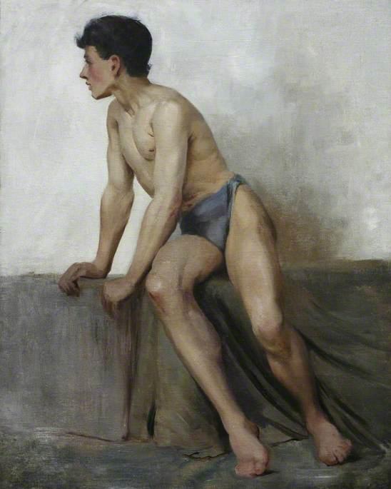 File:Henry Scott Tuke - Seated Nude Study (c.1877).jpg ...