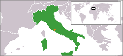 Map indicating locations of Italy and Holy See