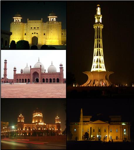 Clockwise from left: Lahore Fort, Minar e Pakistan, Wapda House, Quaid-e-Azam Library and Badshahi Mosque