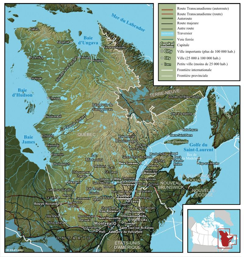 Karte von Québec