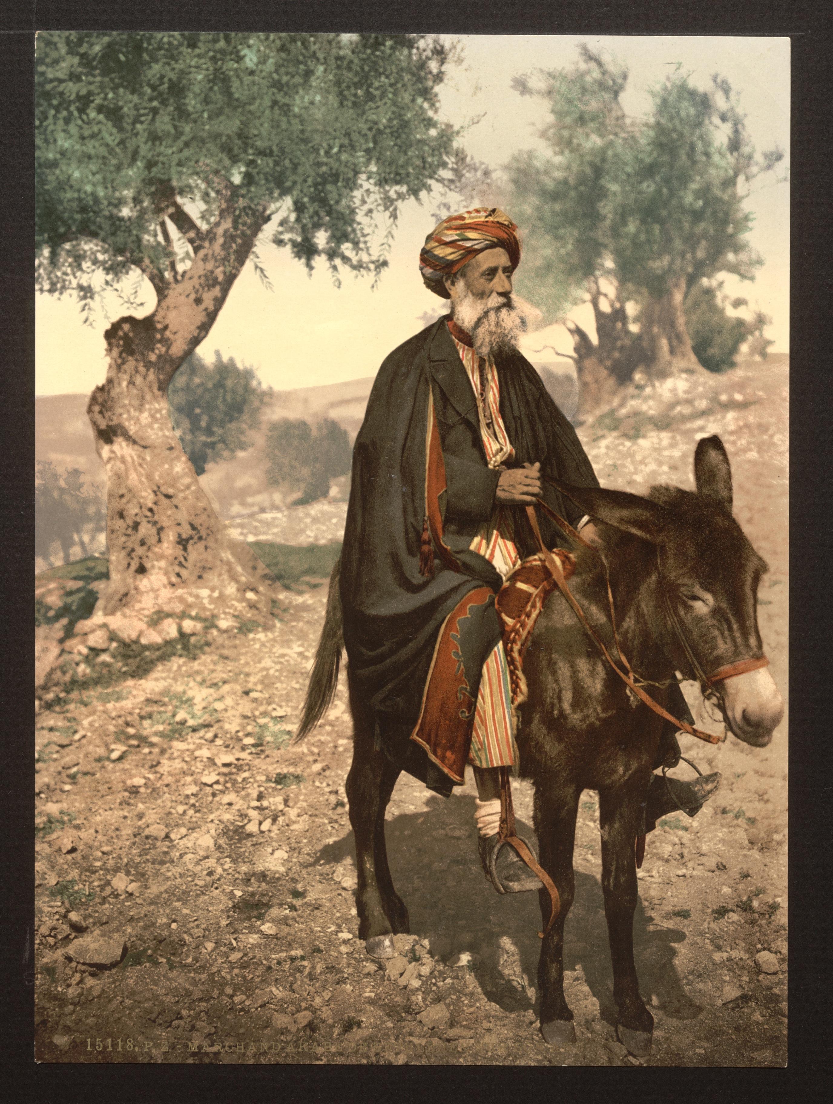 File:Native of Bethlehem on his donkey, Holy Land, (i e