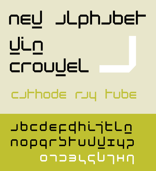 Specimen of the typeface New Alphabet, designed by Wim Crouwel - geëmbed van wikipedia