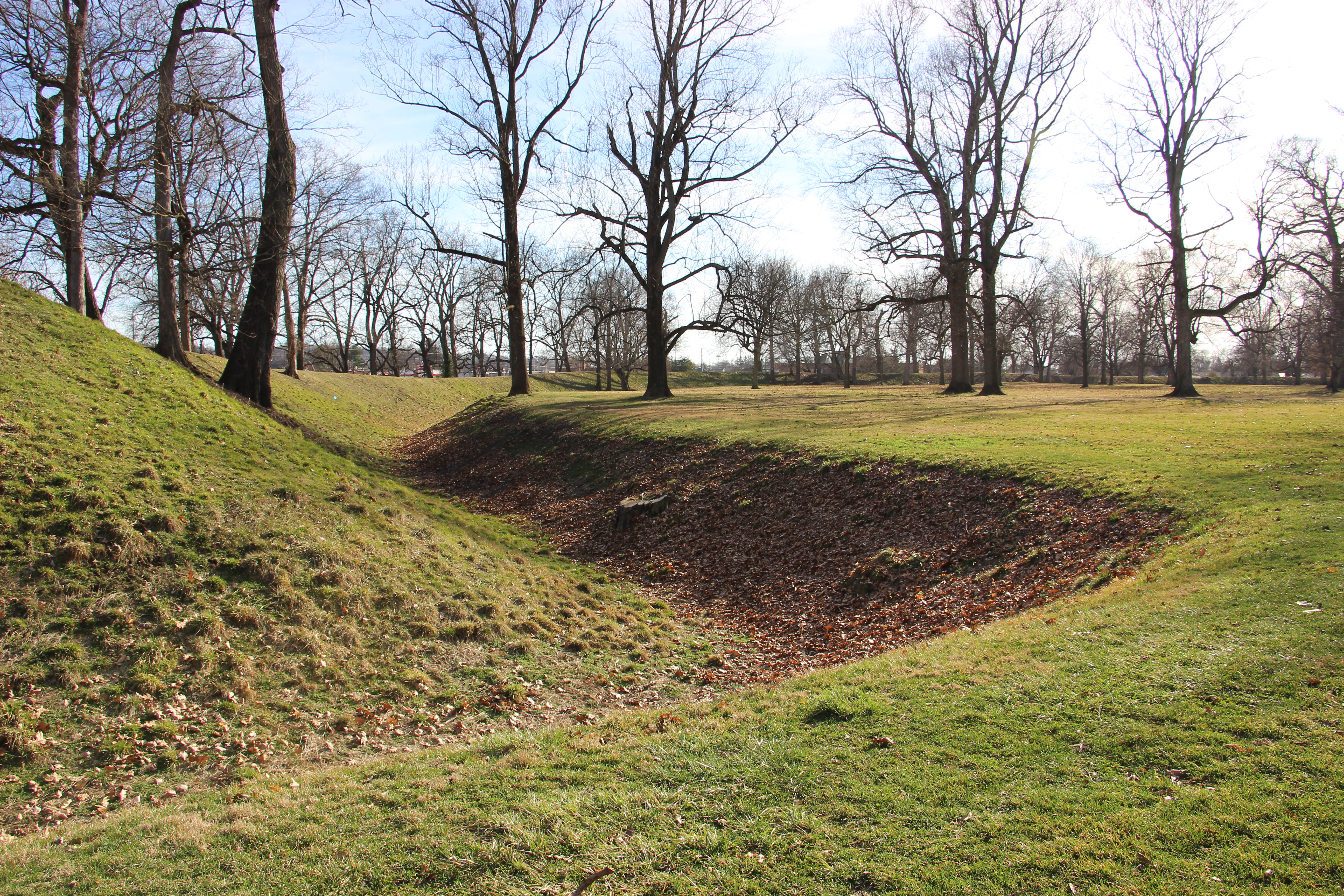 part of a mound at the Newark Earthworks