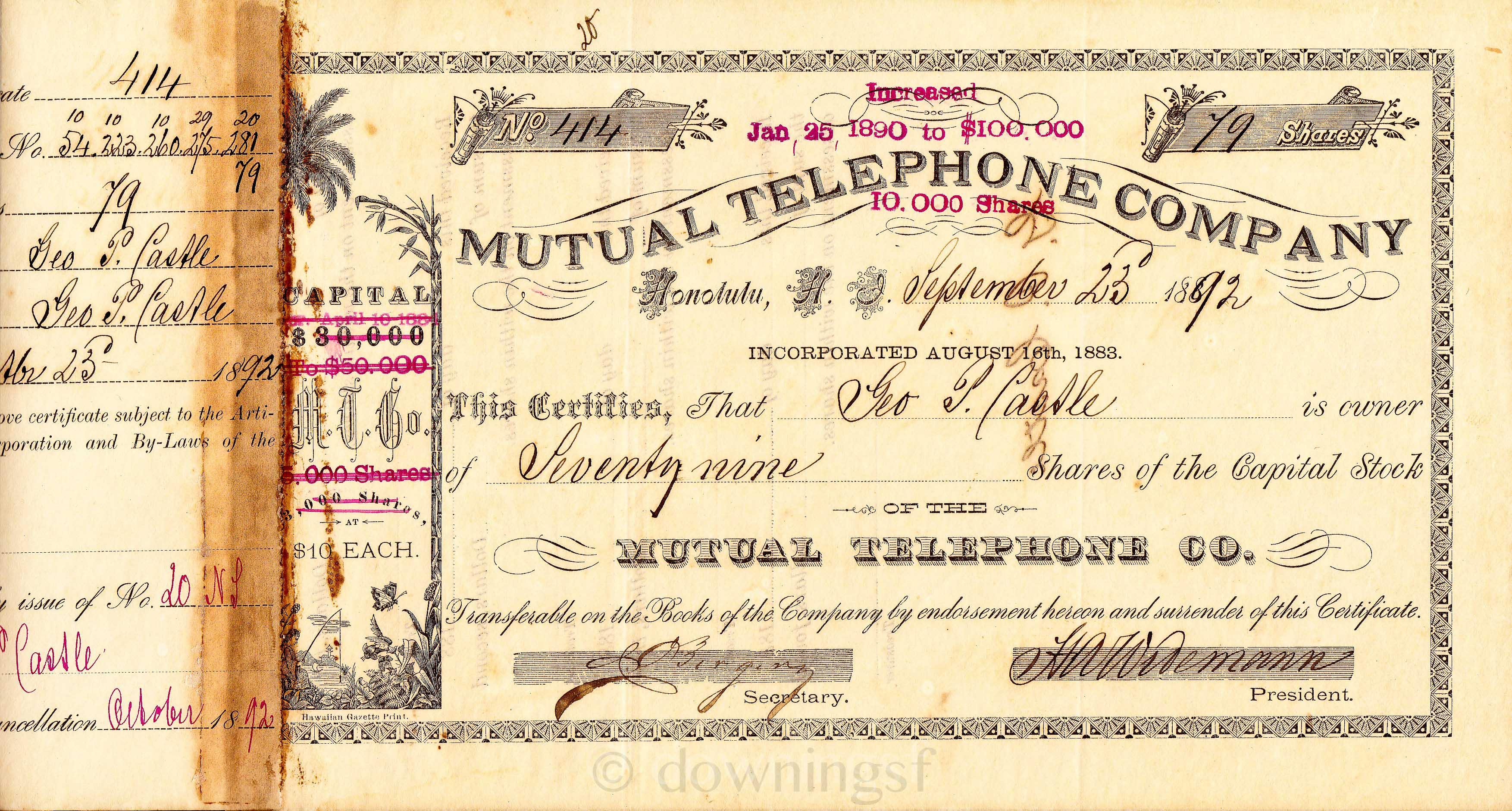 File Original Company Stock Certificate Jpg Wikimedia Commons
