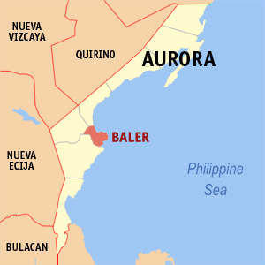 Map of Aurora showing the location of Baler
