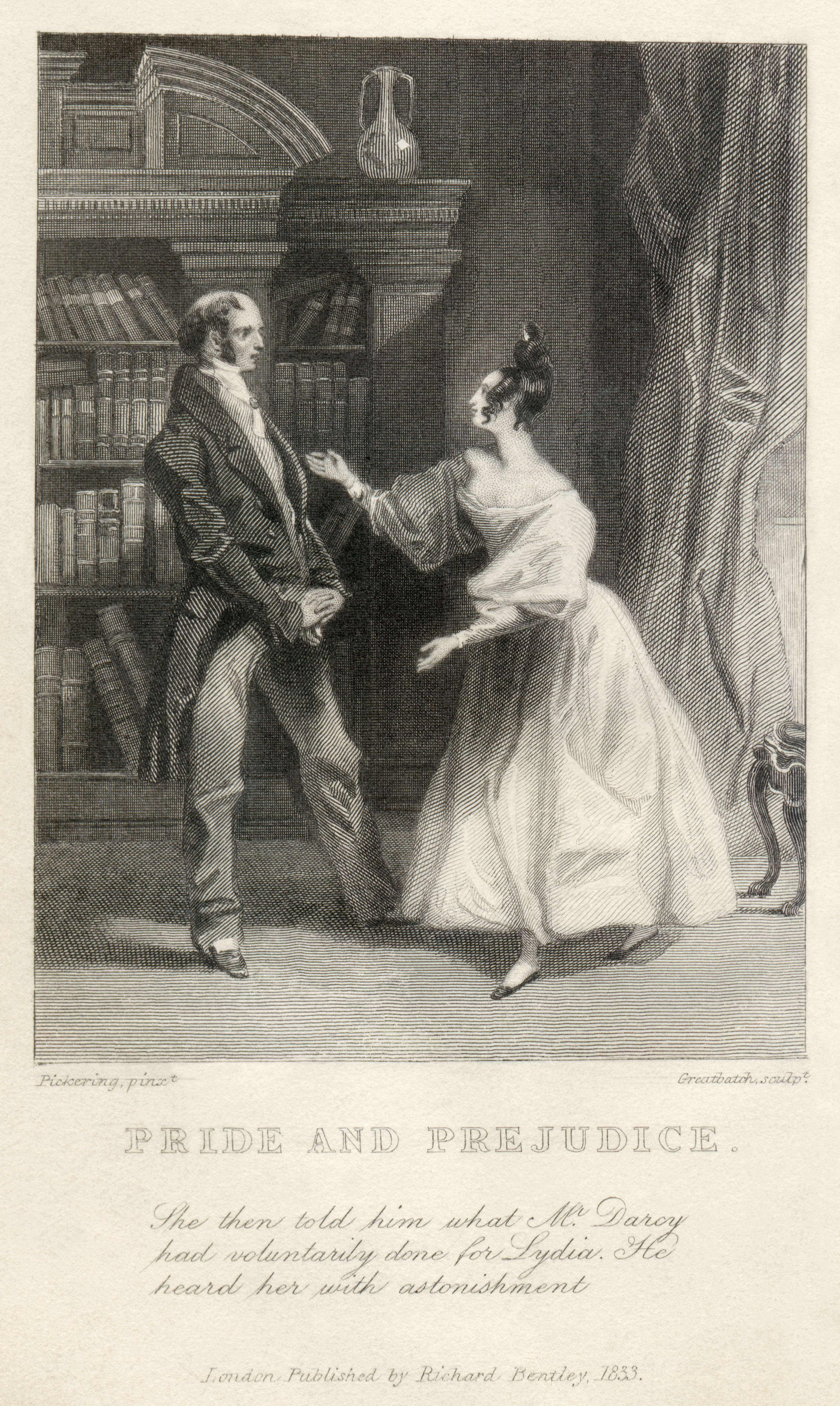 pride and prejudice elizabeth tells her father that darcy was responsible for uniting lydia and wickham one of the two earliest illustrations of pride and prejudice