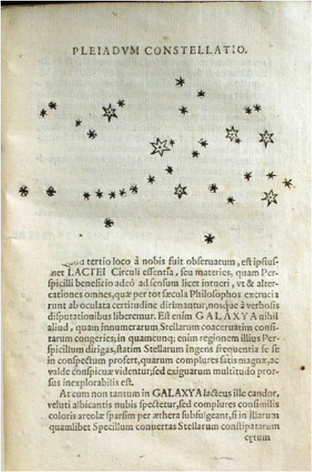 Galileo's drawings of the Pleiades star cluster from Sidereus Nuncius. Image courtesy of the History of Science Collections, University of Oklahoma Libraries.