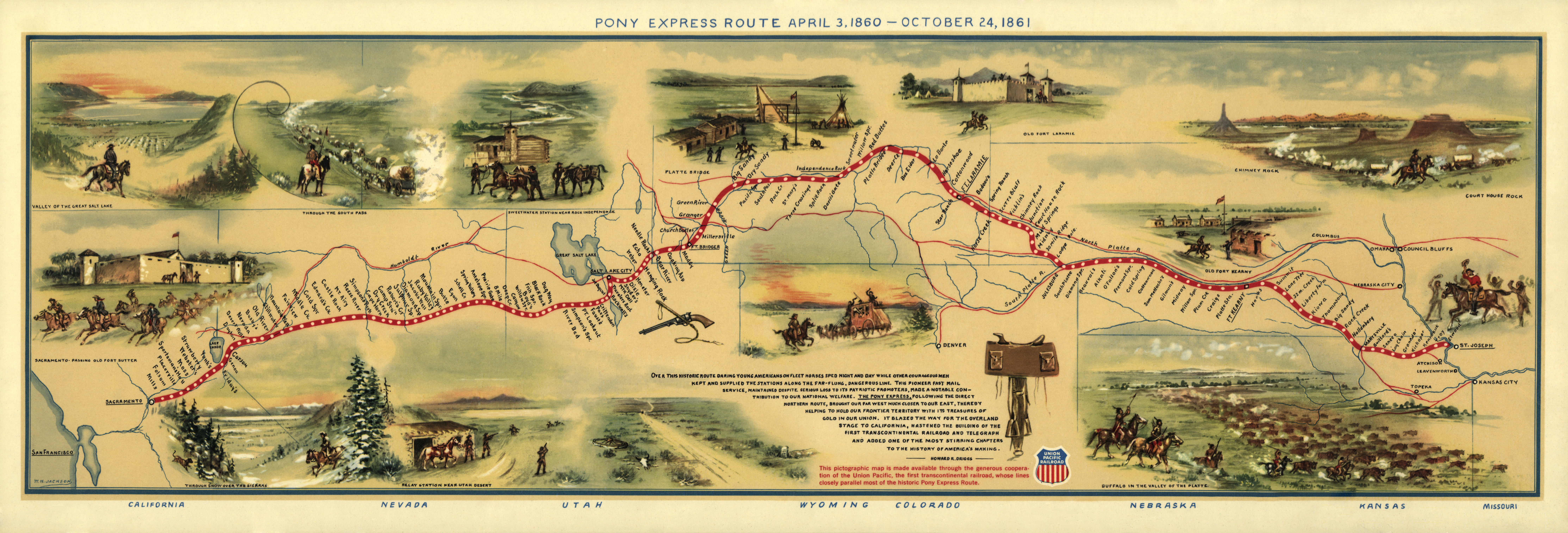 Map of the Pony Express Route in