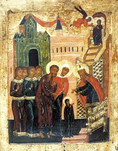 The Entry of the Theotokos into the Temple, the Great Feast which falls during the course of the Nativity Fast (16th-century Russian icon). Presentation of Virgin Mary (icon).jpg