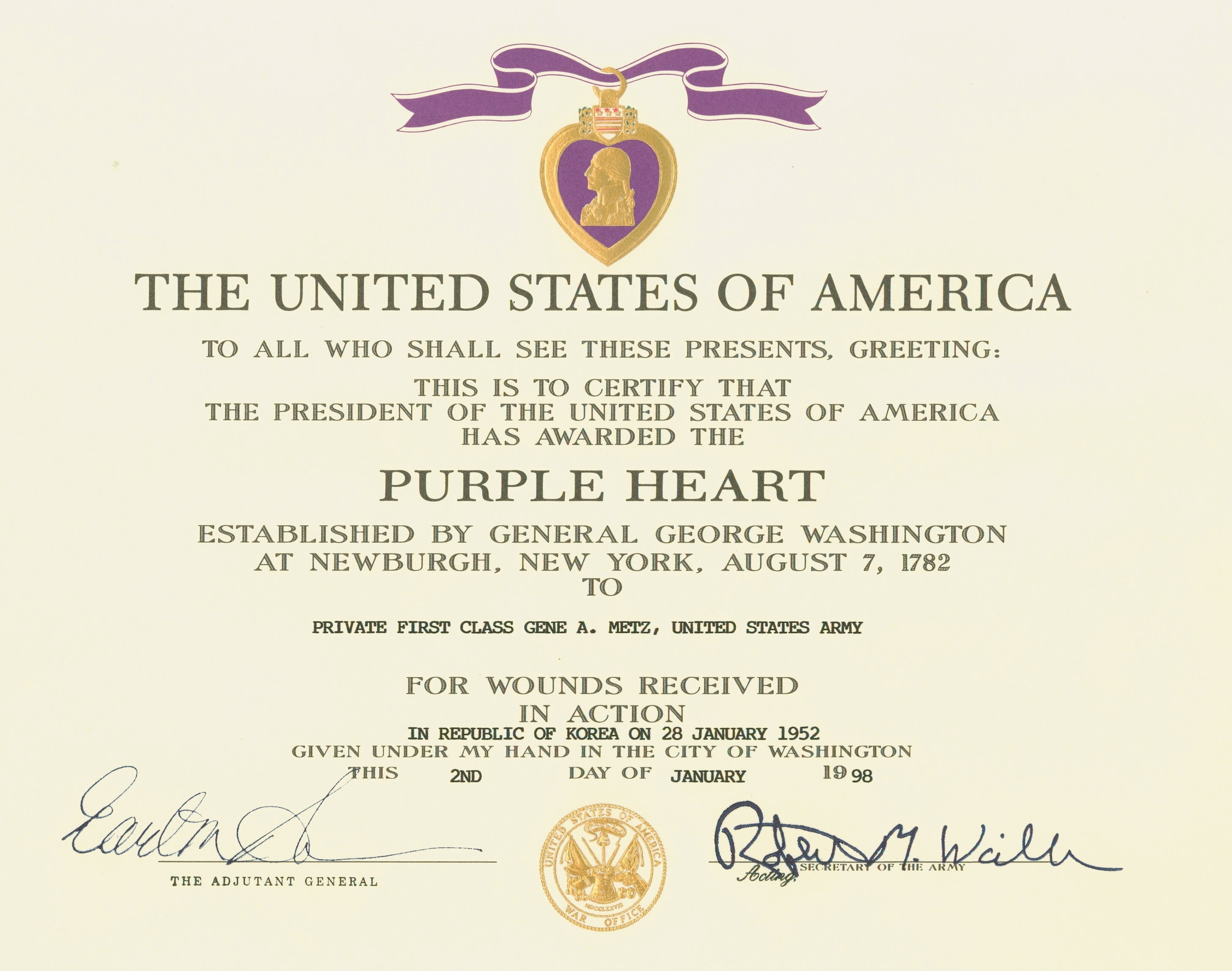File:Purple heart certificate.jpg - Wikimedia Commons