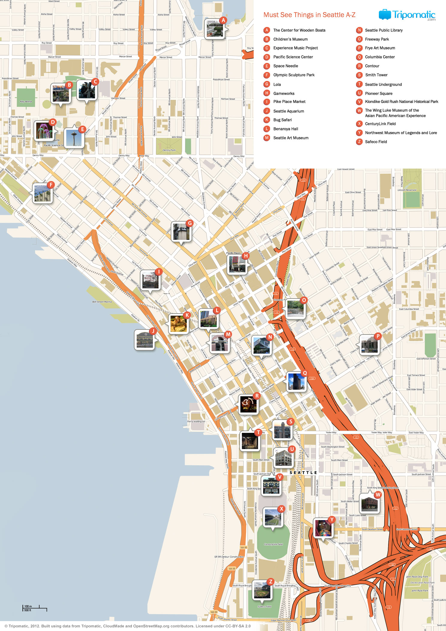 Seattle Attractions Map File:Seattle printable tourist attractions map.   Wikimedia Commons Seattle Attractions Map