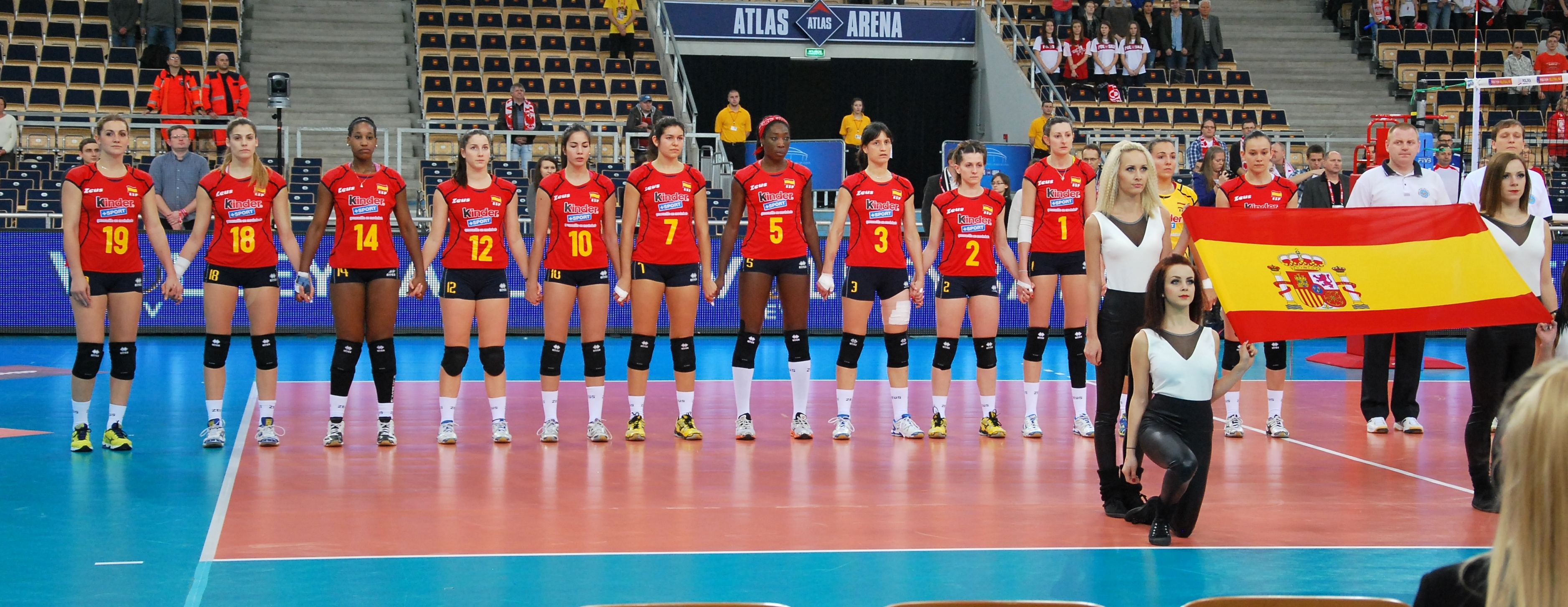 File Spain Volleyball Women National Team 02 Fivb World Championship European Qualification Women Lodz January 2014 Jpg Wikimedia Commons