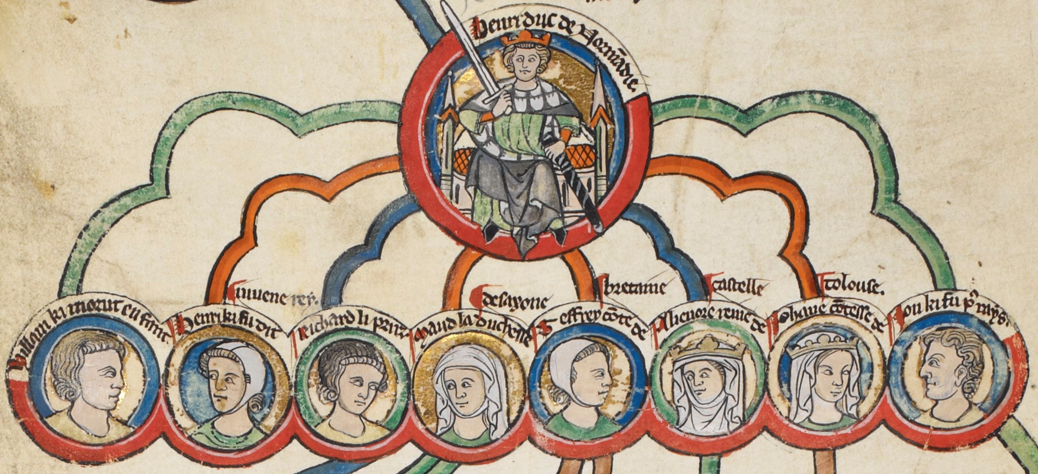 13th-century depiction of Henry II and John's siblings: (l to r) William, Henry, Richard, Matilda, Geoffrey, Eleanor, Joan and John