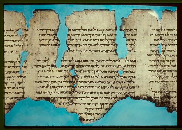 Example of  and image of the text of Dead Sea Scrolls (see slides Levy, David 2008, 43rd Annual AJL Proceedings Cleveland, OH)