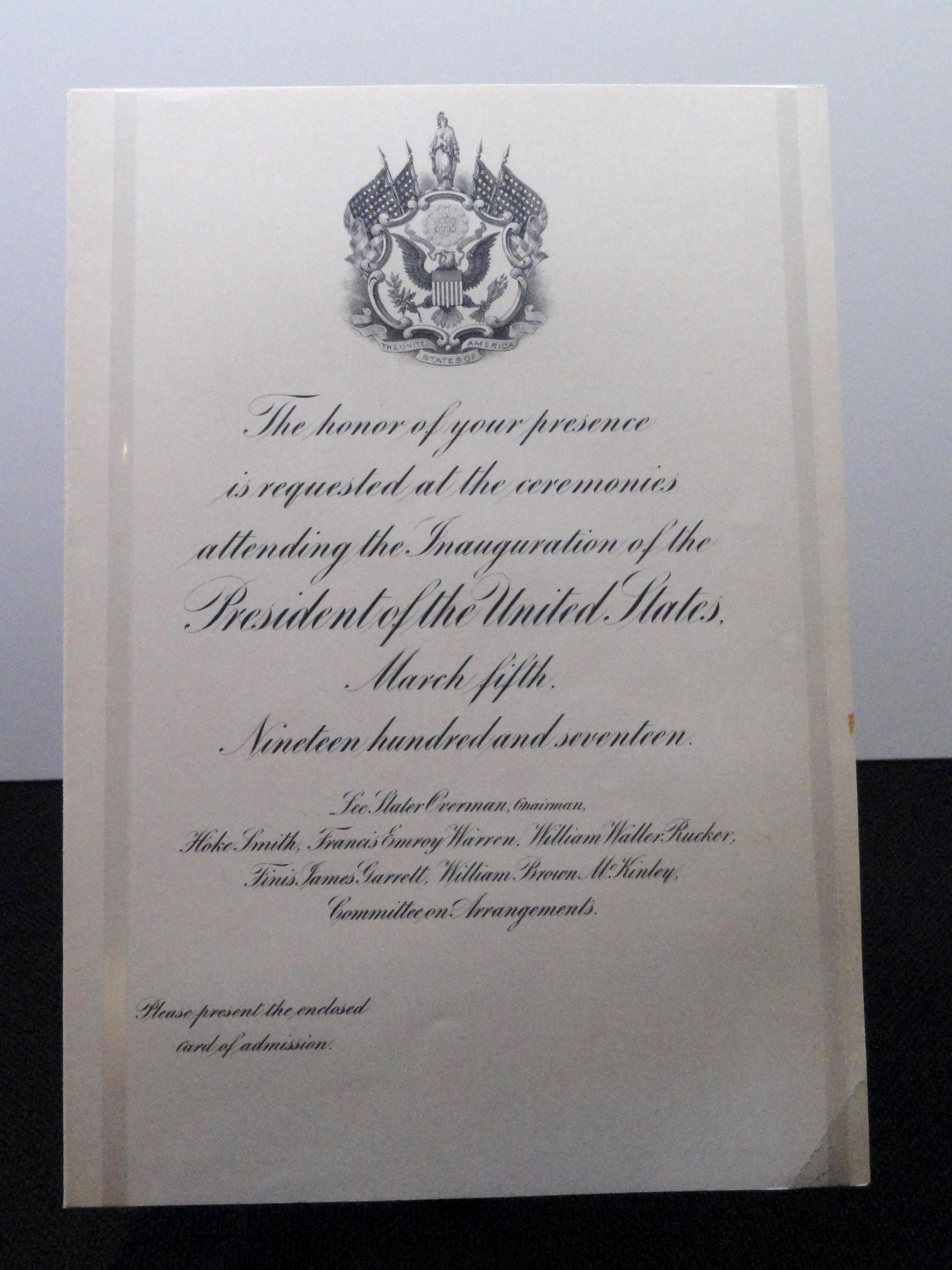 Fileus president woodrow wilson inauguration invitation march 5 fileus president woodrow wilson inauguration invitation march 5 1917 national world stopboris Image collections