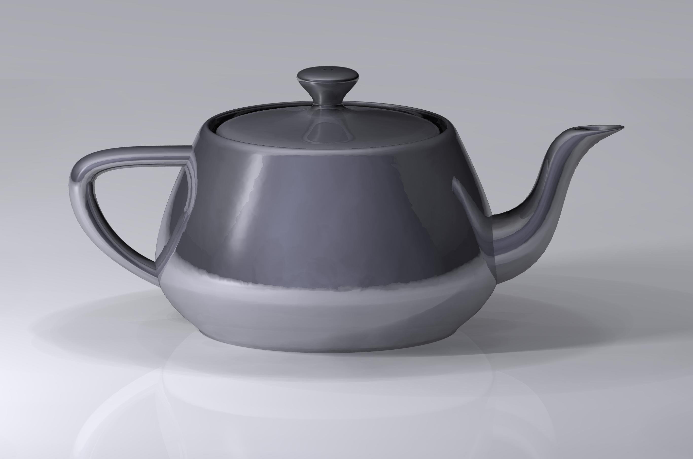 A modern rendering of the Utah teapot model.