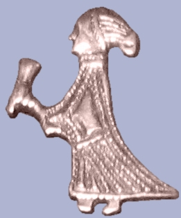 Wikipedia commons: A silver figure of a woman holding a drinking horn found in Birka, Björkö, Uppland, Sweden.