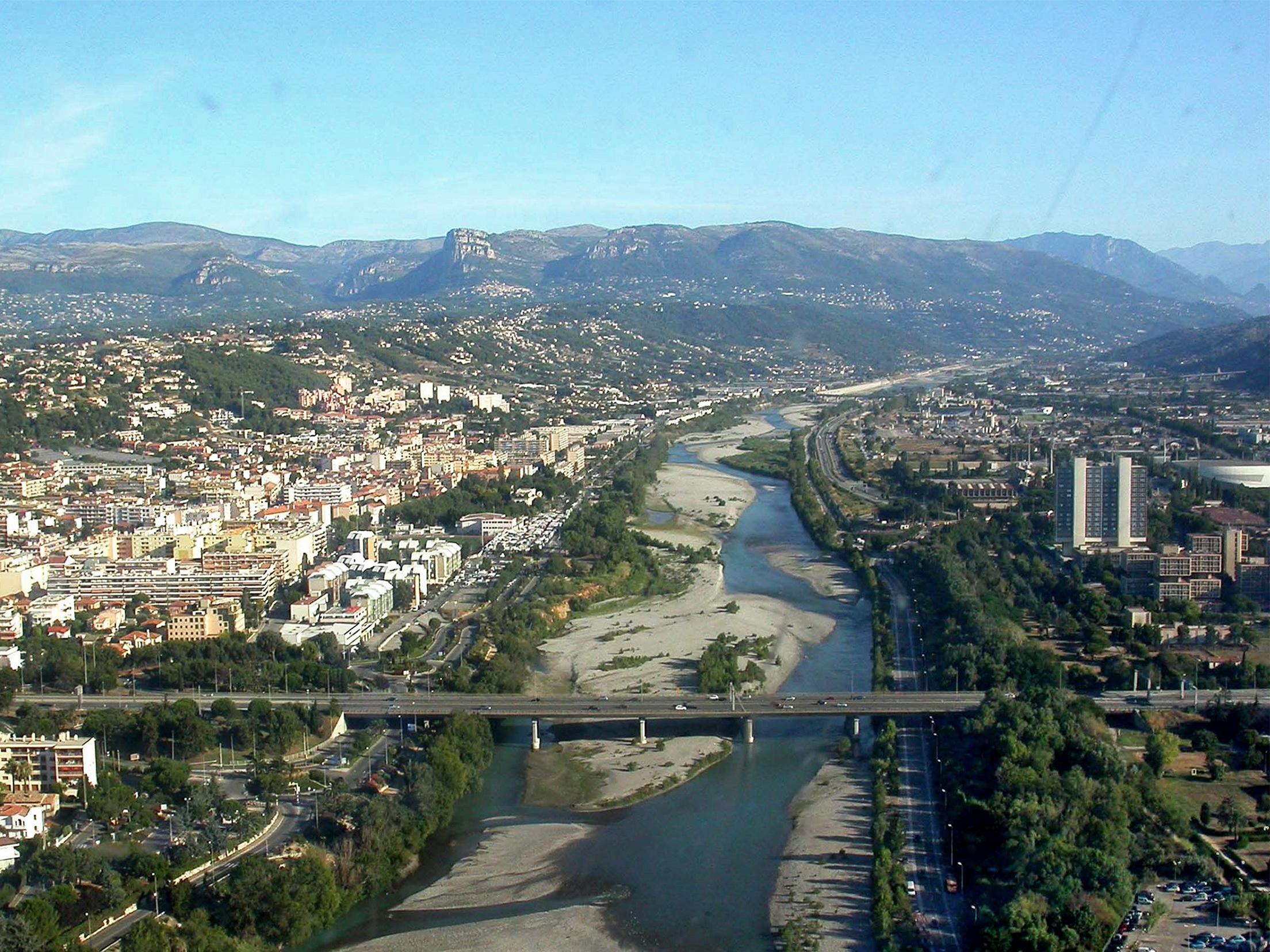 Var river at Nice and Saint-Laurent-du-Var, France: for which the Var ...