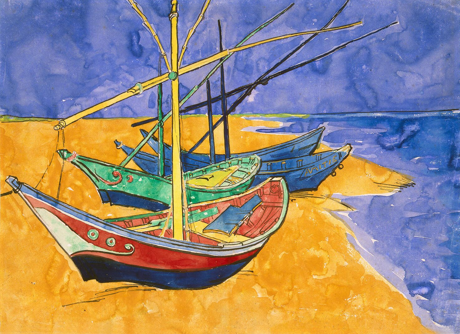 file vincent van gogh boats at saintes marie watercolour jpg