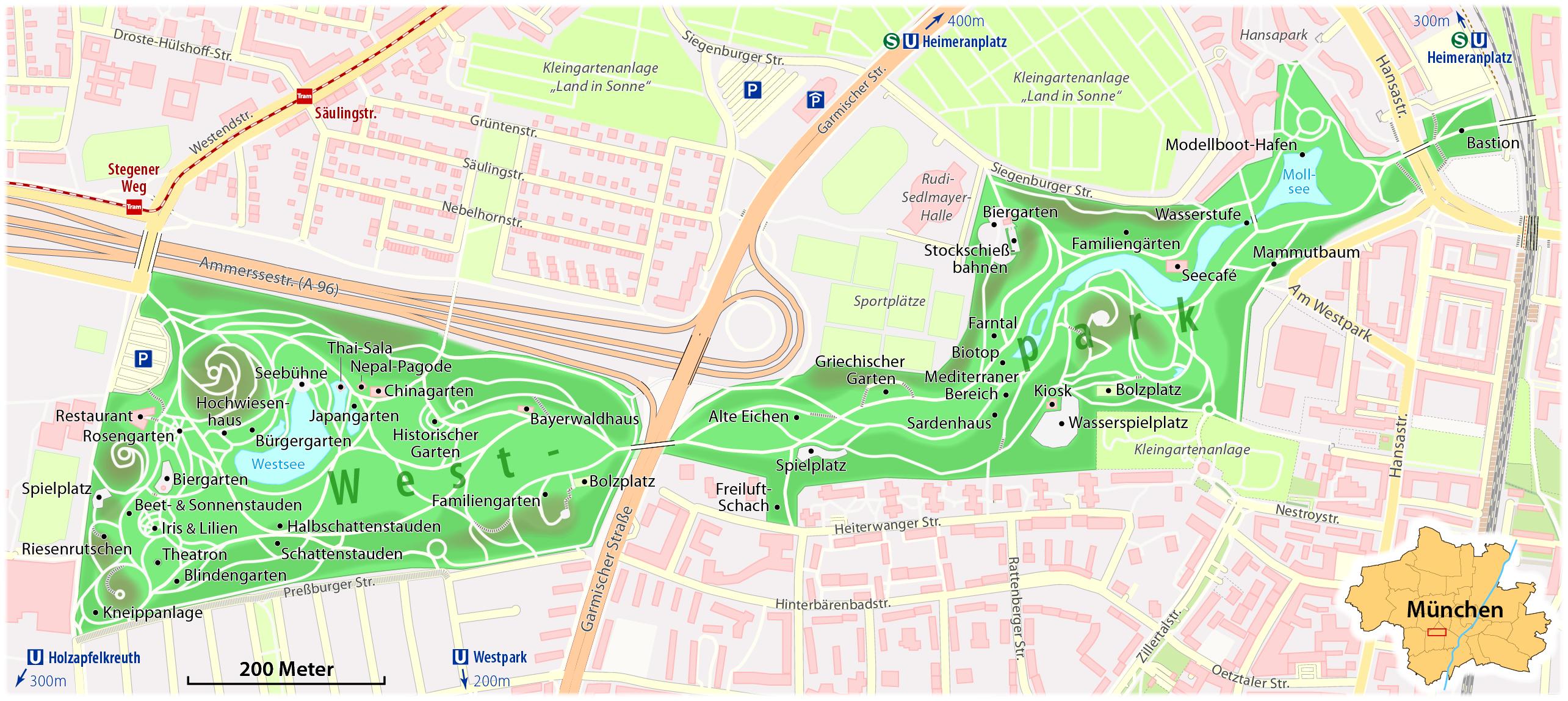 Westpark karte, Munich