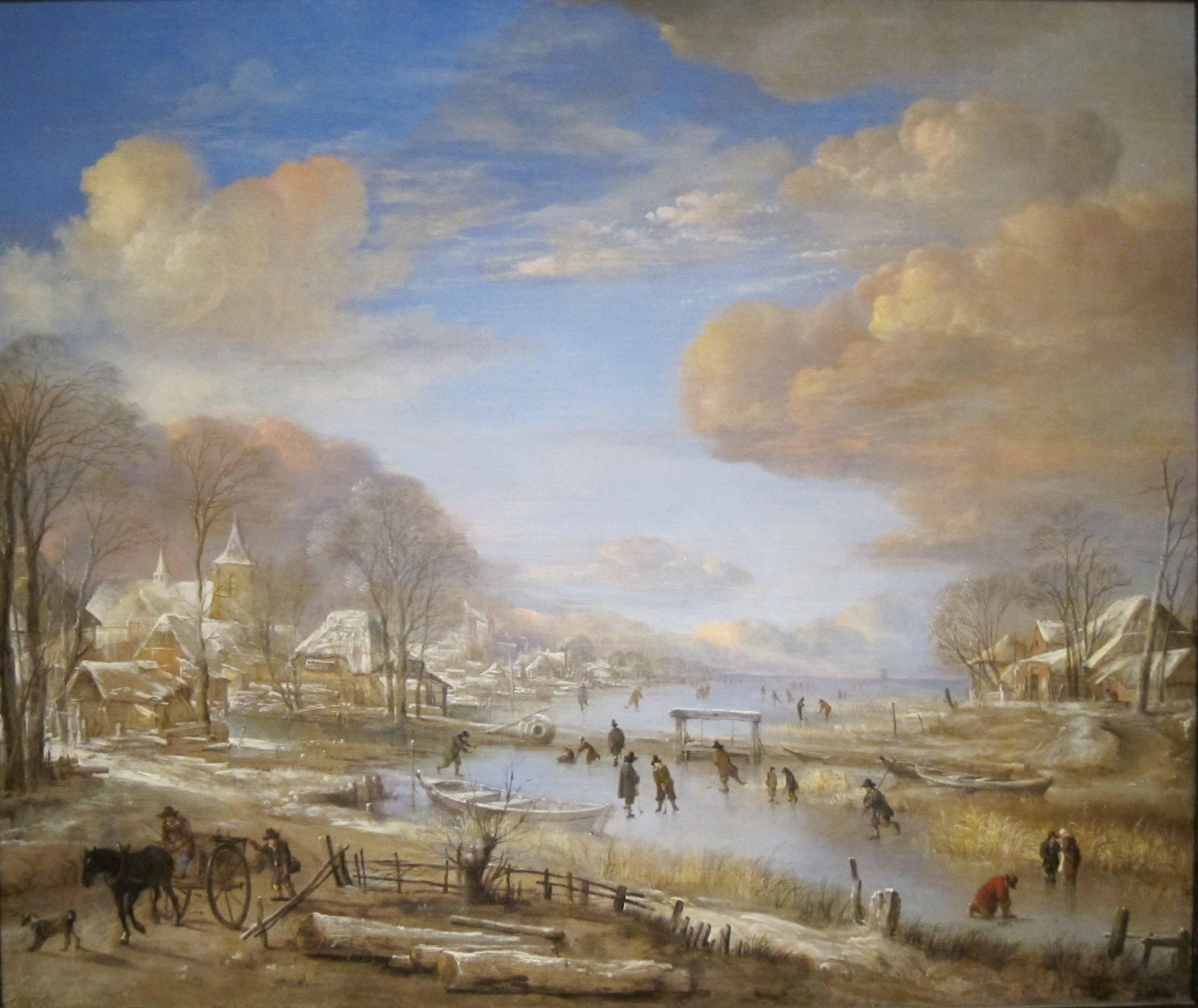 File:'Winter Landscape' by Aert van der Neer, Cincinnati ...